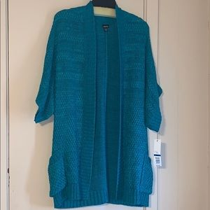 Rafaella XL Turquoise Elbow Sleeve Pocket Cardigan